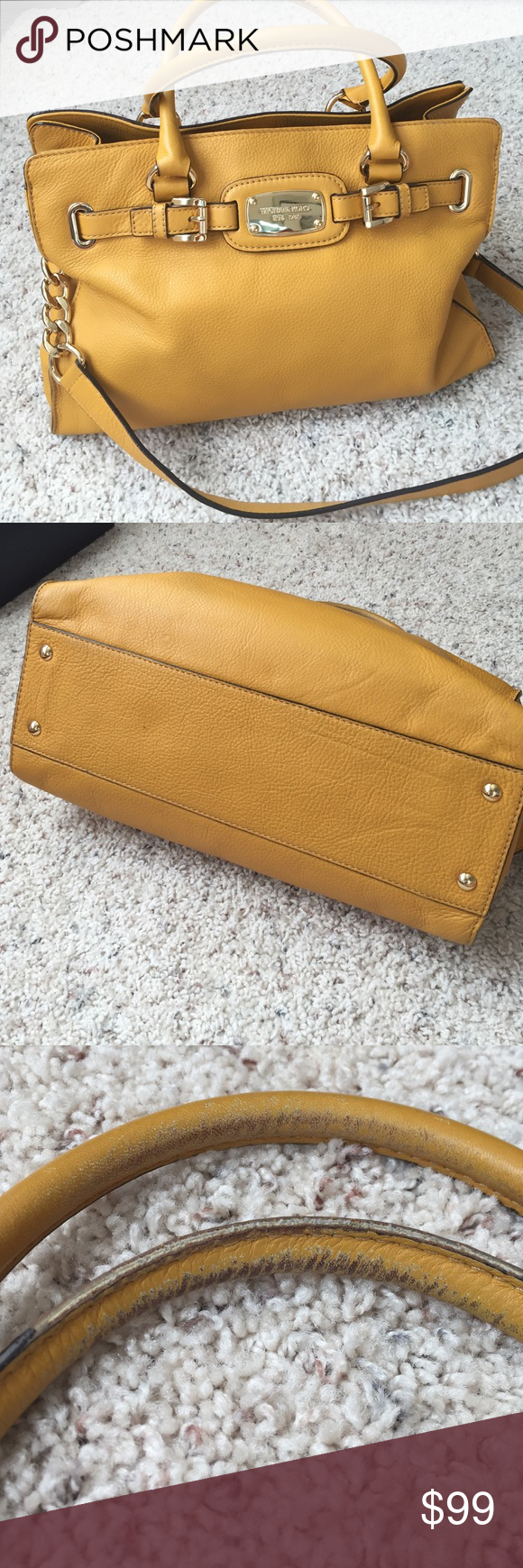 Michael Kors Goldenrod Michael Kors Goldenrod purse. Beautiful bag. Is worn areas under top handles not seen when you carry it. One pen mark inside as shown in picture. Lots of compartments inside. With shoulder strap too. Smoke free home. Michael Kors Bags Shoulder Bags