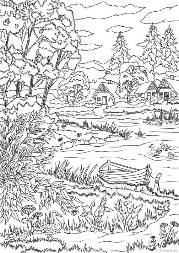 Lake View Printable Adult Coloring Page From Favoreads Coloring