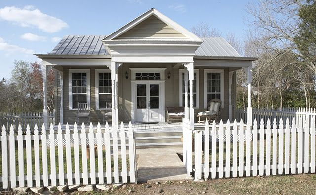 cute gray house with white trim