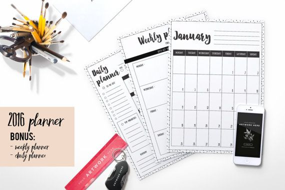 2017 planner (inkdot background) + weekly planner + daily planner - Agenda Planner Template