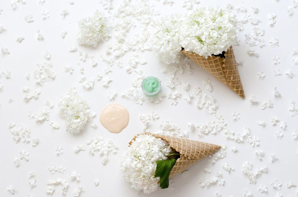 flowers ice cream cones