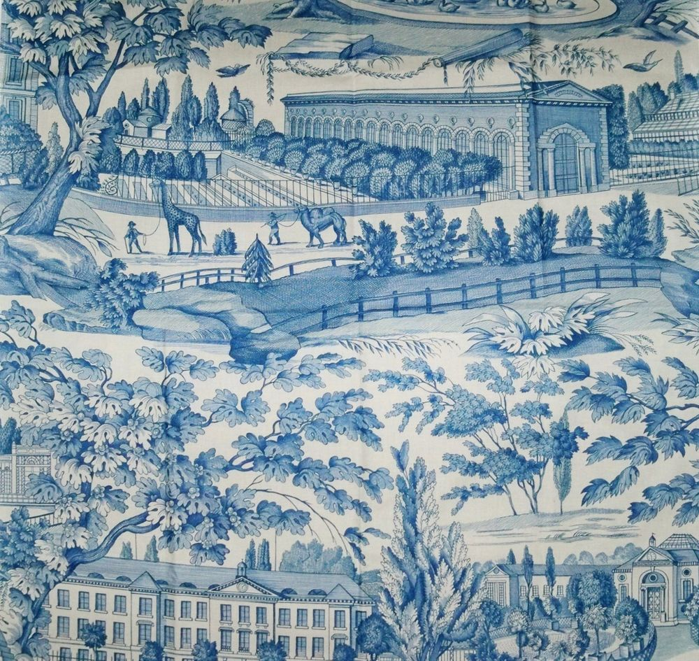 Brunschwig & Fils Charlotte Moss Zarafa Cotton Toile Fabric 10 Yards Blue