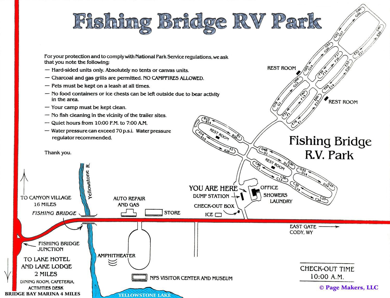 Fishing Bridge RV Campground Map  Yellowstone National Park - Rv parks usa map
