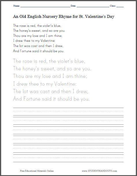 Old English St Valentine s Day Nursery Rhyme Poem for Kids Free