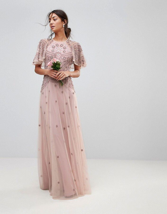 Asos Tall Wedding Iridescent Delicate Beaded Flutter Sleeve Maxi ...