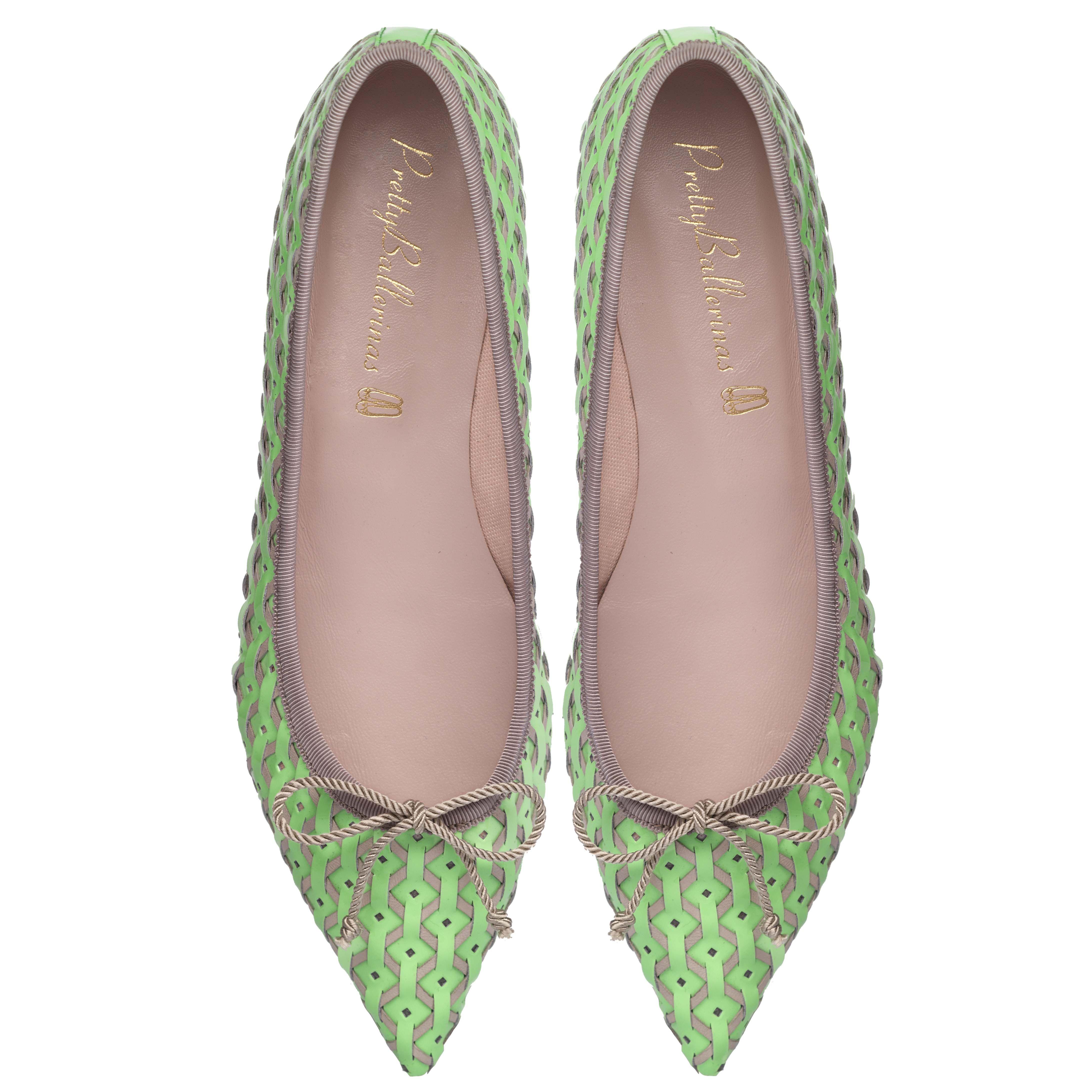 Zapatos en punta Ella mint and beige weave de la nueva
