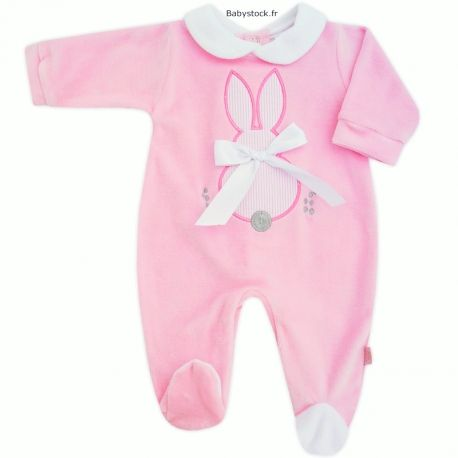 Pyjama dors bien bébé fille en velours rose brodé Lapin   Babystock ... 84c7ffa3867