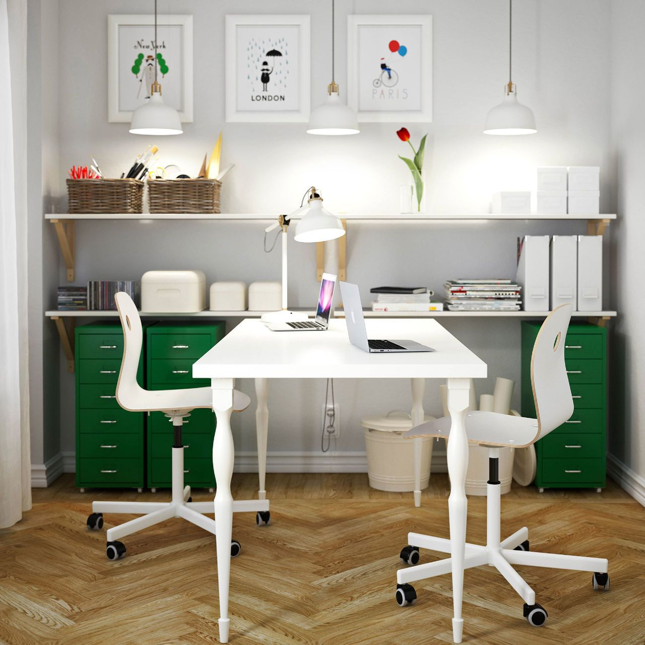 A white home office with white LINNMON table for two, VÅGSBERG ...