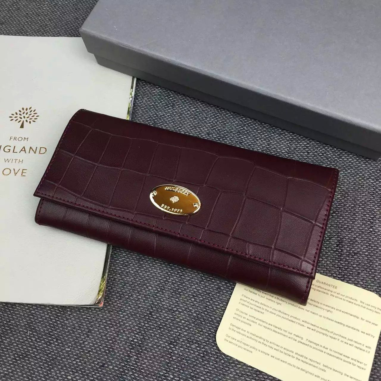 Spring 2016 Mulberry Wallet Collection Outlet UK-Mulberry Continental  Wallet Oxblood Deep Embossed Croc Print d20f5f11ea