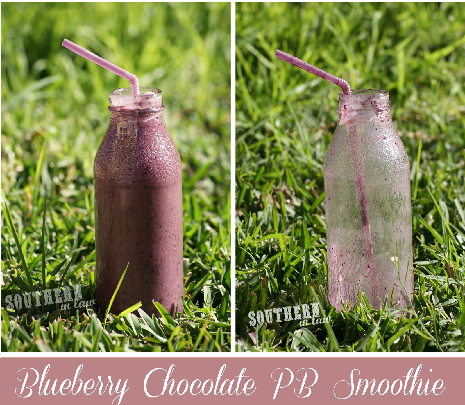 Blueberry Cocoa Peanut Butter Smoothie - Gluten Free, Vegan, Healthy