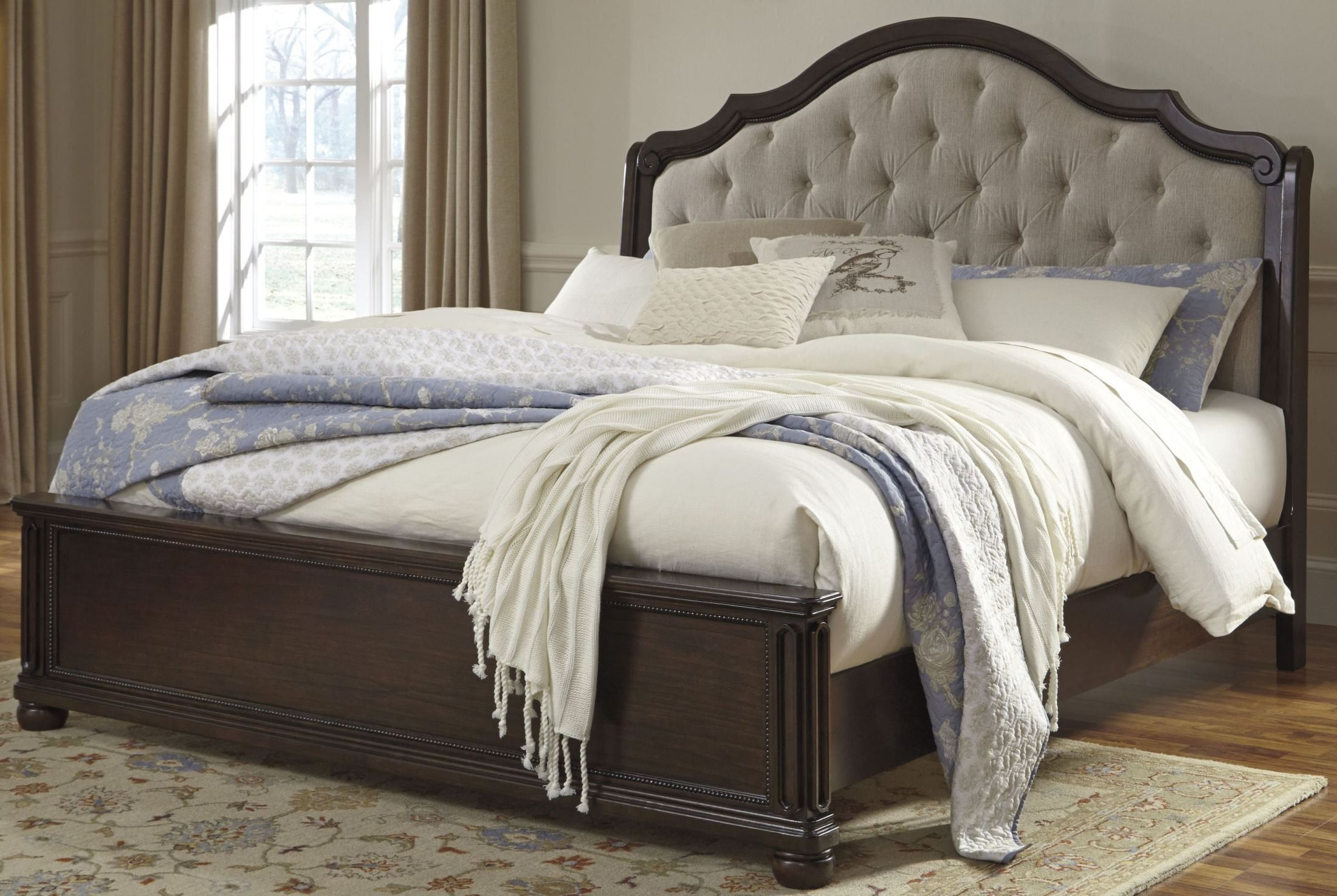 Moluxy Dark Brown King Upholstered Sleigh Bed B596 56 58 97 Ashley Modern Murphy Beds Upholstered Sleigh Bed Bedroom Set