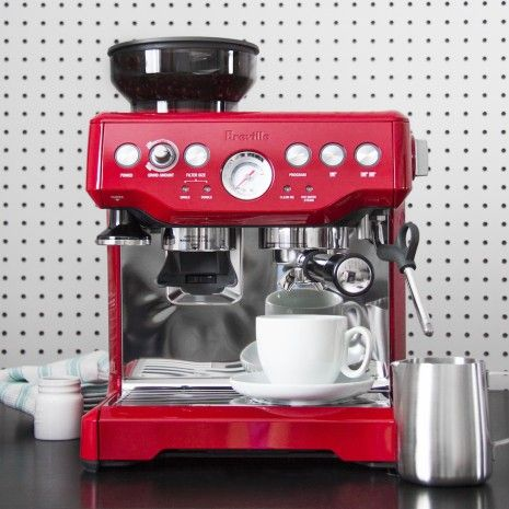 Breville Barista Express Cranberry Red Stainless Steel Semi Automatic Machines Espresso Makers Machine Expresso Expresso Decoration Interieure Lumineuse