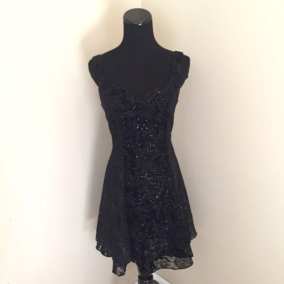 f95fbfbe Shimmering Black Velvet & Tulle Swing Dress Beautiful! Pictures do not  do this dress
