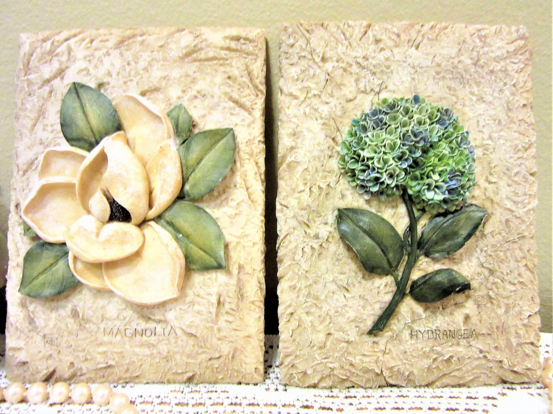 Vintage Wall Decor Plaques Floral Magnolia Hydrangea Hanging Set of ...