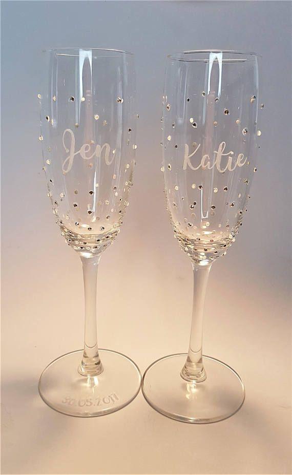 6c45ea652cf Champagne Flute, Bridesmaid gift, Personalised, Prosecco Glass, Hand ...