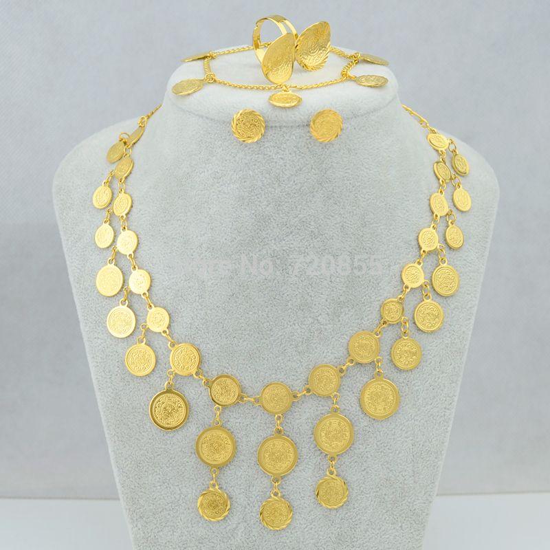Luxury Coin Set NecklaceBraceletEarringRing Gold Color Copper