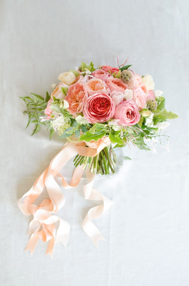 yummy coral and blush garden rose bouquet with streaming ribbons by gavita flora - Blush Garden Rose Bouquet