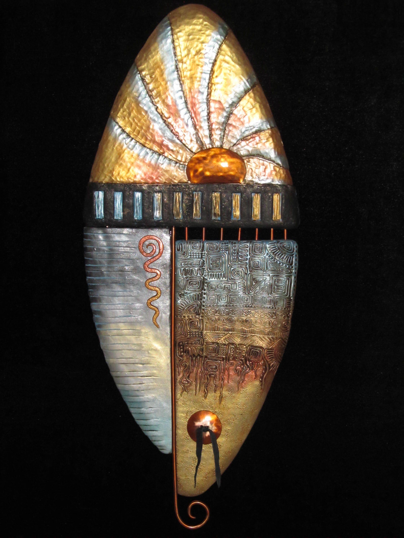 polymer clay and copper wall art shield by karen brueggem. Black Bedroom Furniture Sets. Home Design Ideas