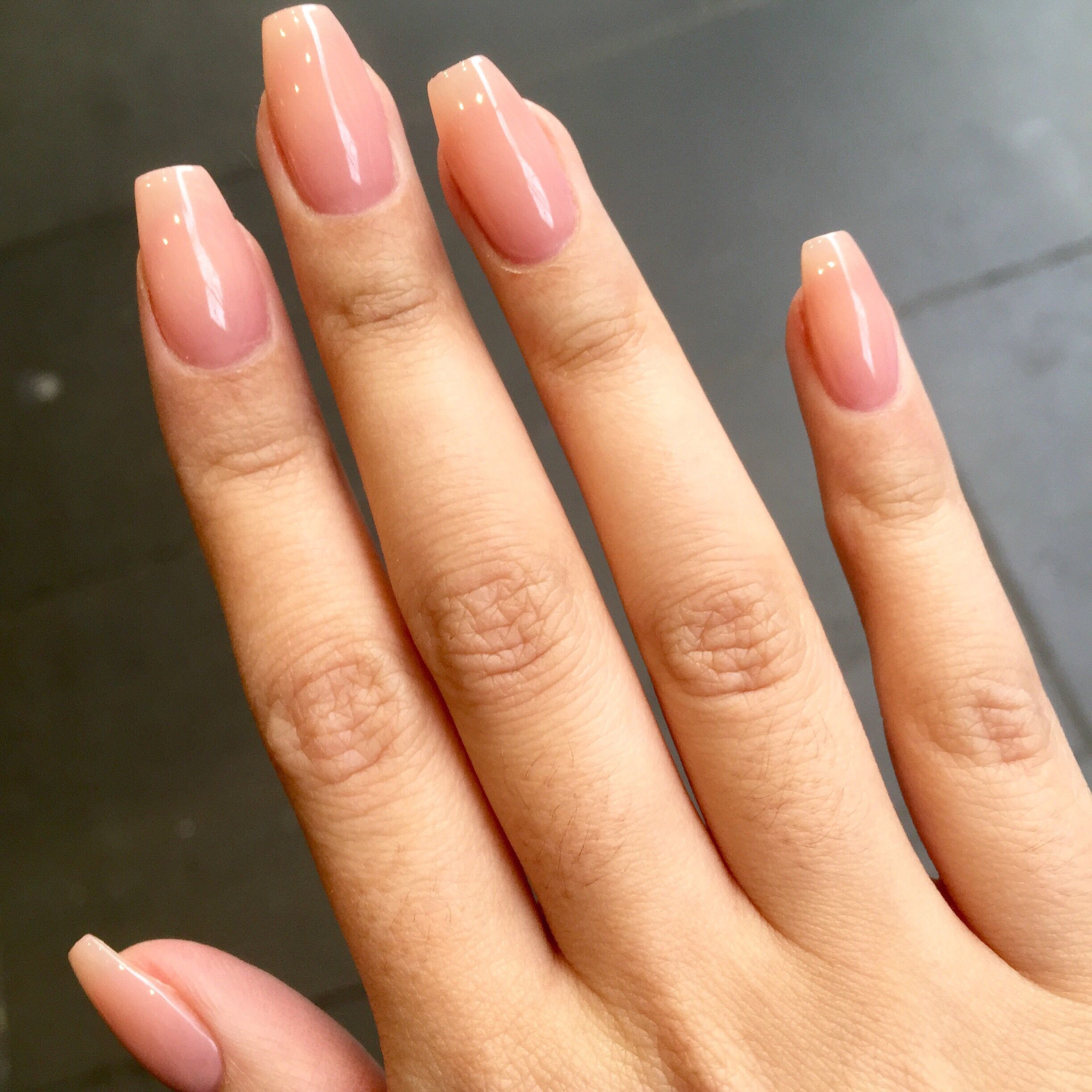 Clear and natural #coffin shaped #nails | nails | Pinterest