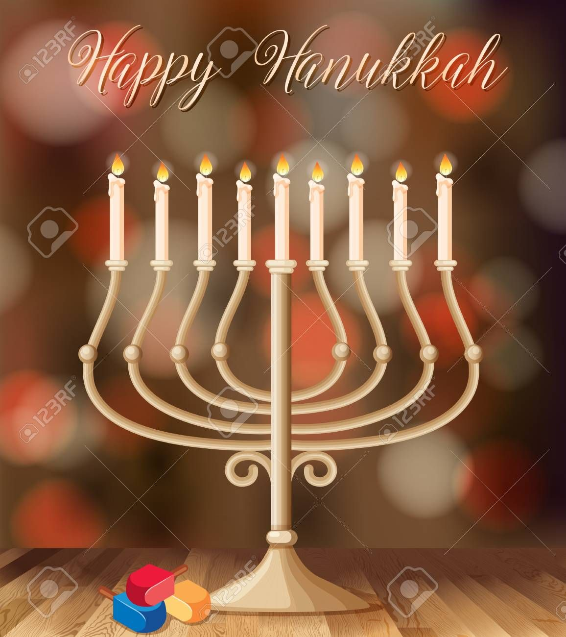 Happy Hanukkah Card Template With Candleholder With Lights Illustration Illustration Ad Card Template Happy Ha Happy Hanukkah Hanukkah Card Template