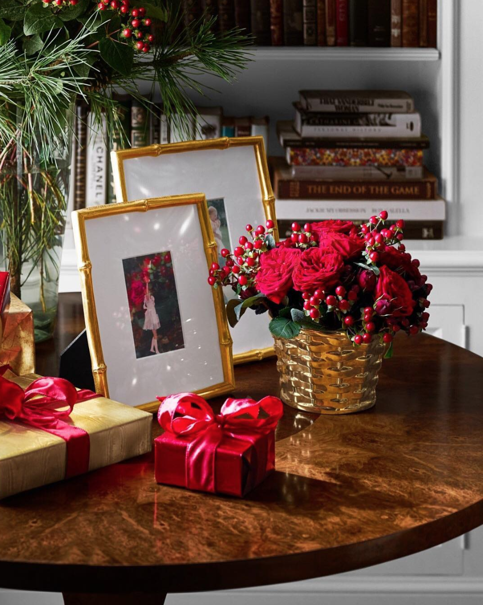 Pin By Carrie On Side Table Accessorizing In 2020 Photo Frame Gallery Frames Christmas Colors