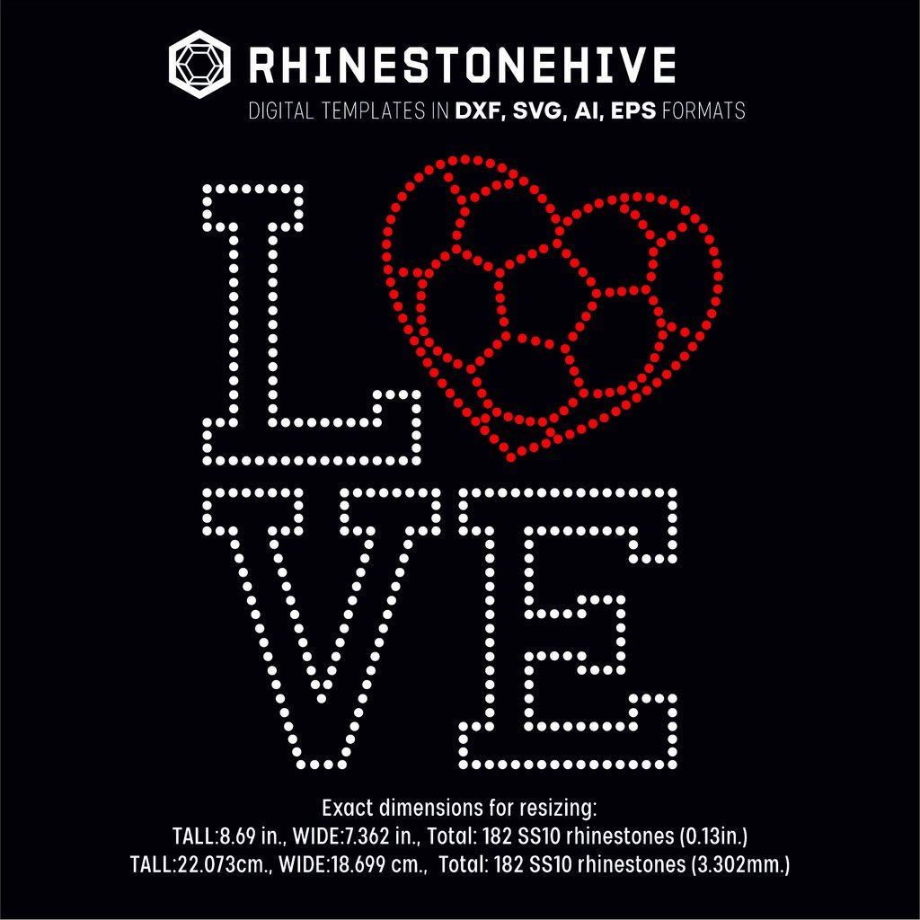 Love Soccer heart rhinestone template digital download, ai