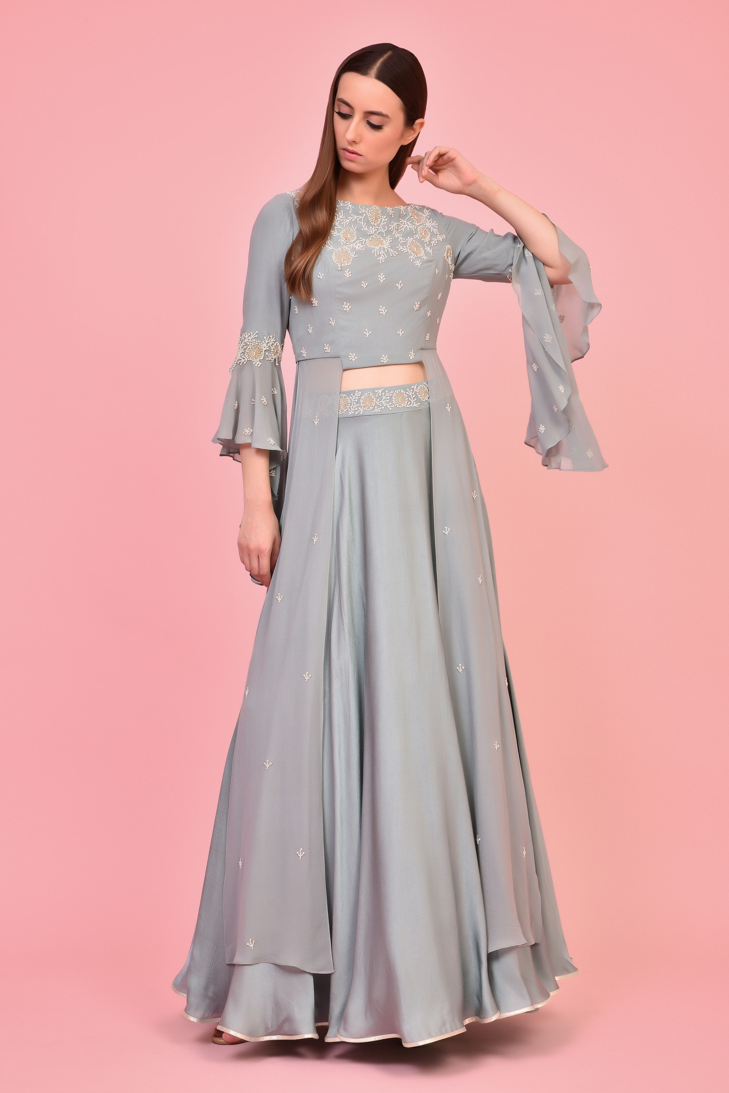 6b8a3fb807371 ... green crop top in pure georgette base with ruffle sleeves and zari