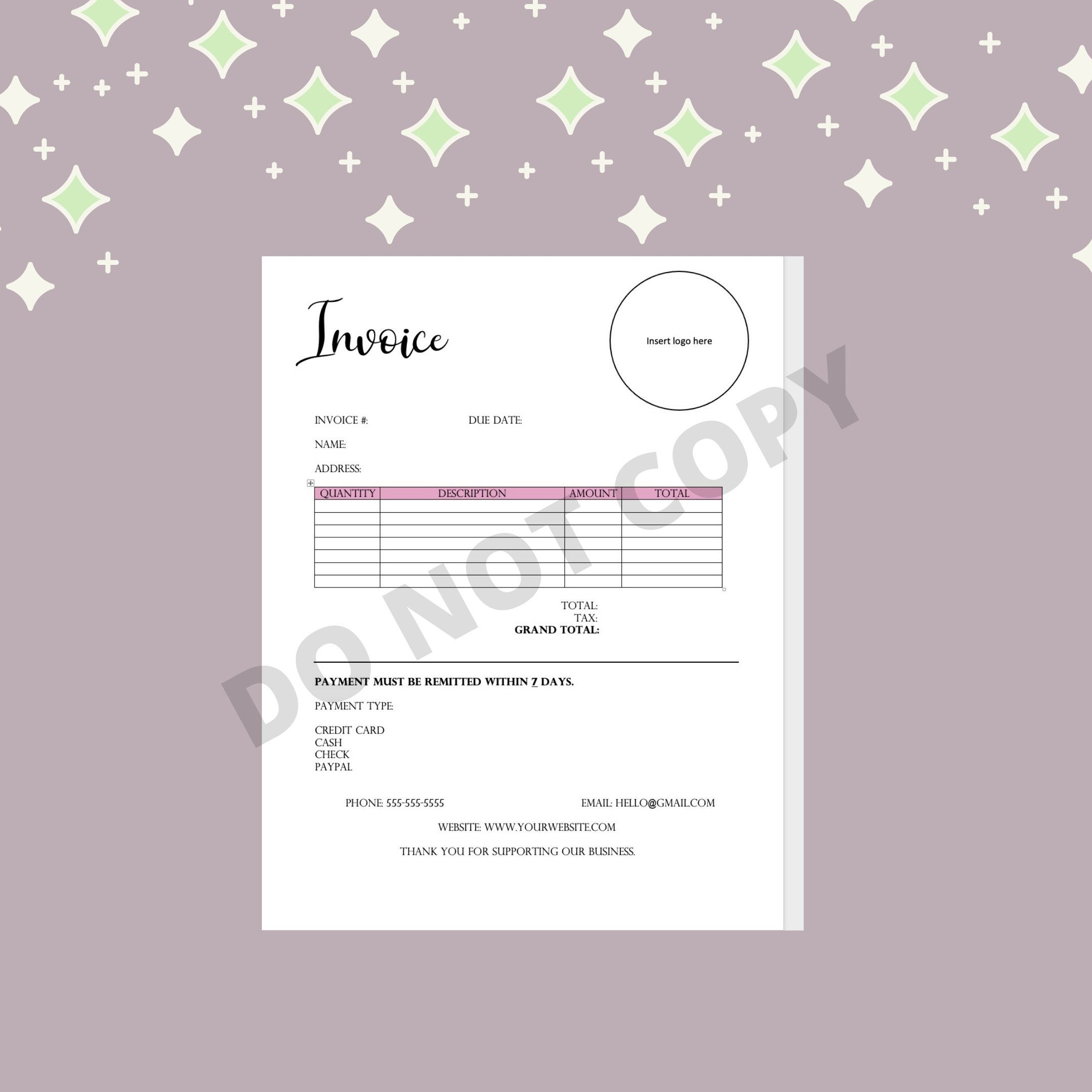 Digital Invoice Small Business Cleaning Contractor Etsy Invoice Template Cash Credit Card Custom Sticker Sheets