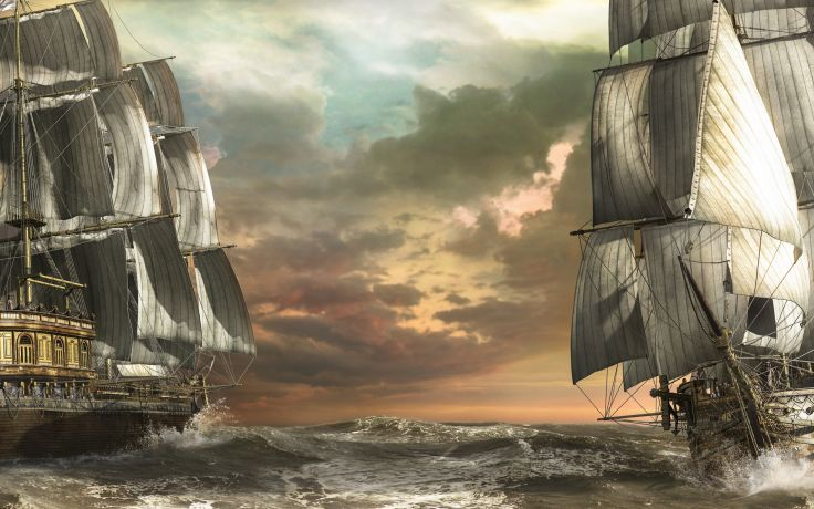 Sailboats wallpaper art sea waves boats ship ships fantasy schooner ocean wallpaper background