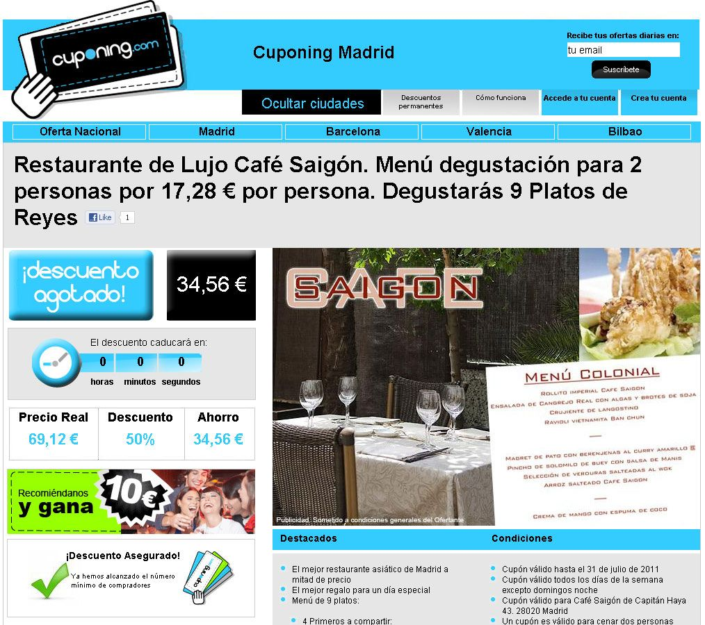Pagina web de compra colectiva con TPV on line, gestor de mailing, seguimiento de localizadores.Cuponing es la manera más rápida de encontrar los mejores descuentos en toda España