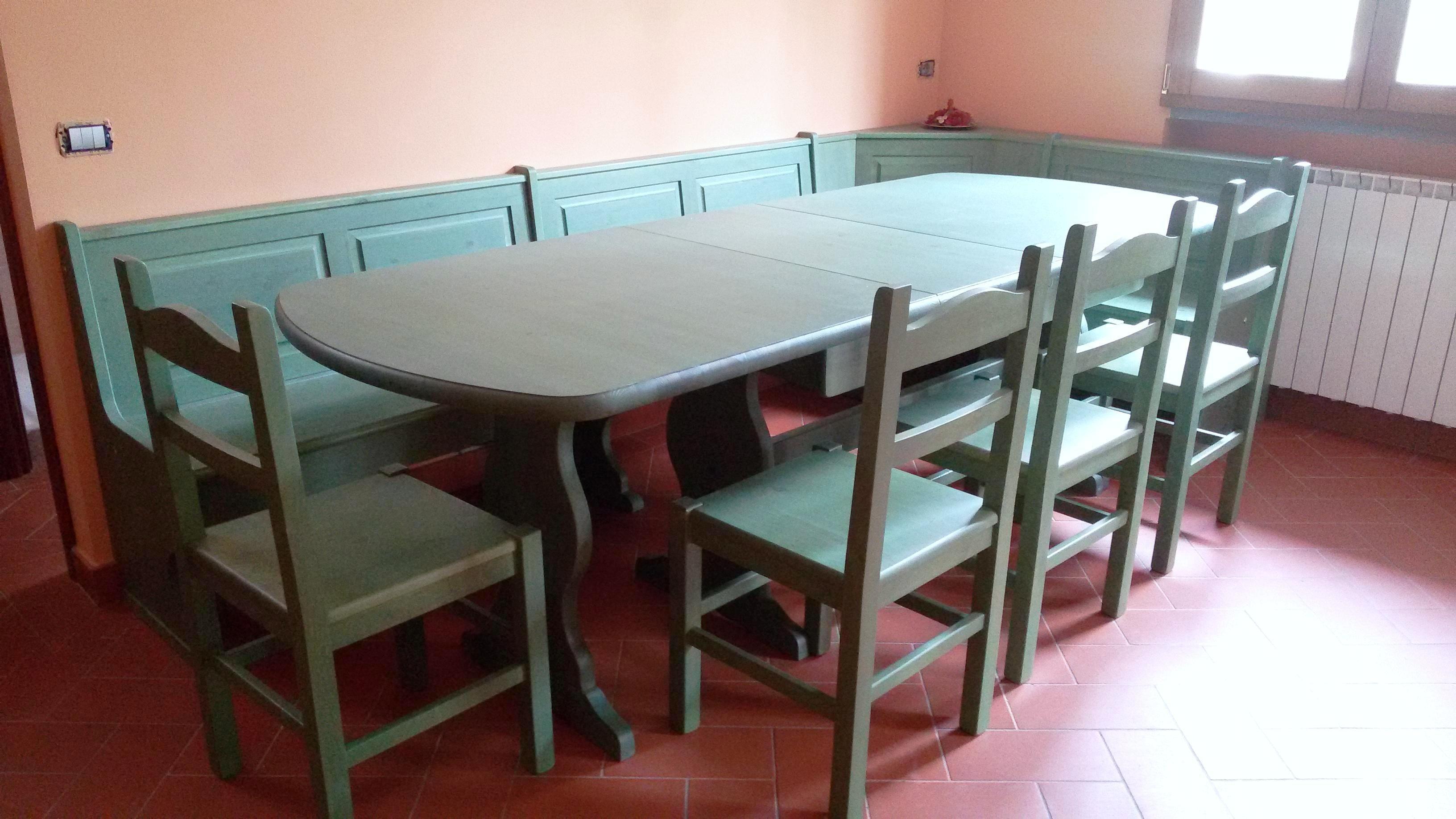 posto da Giropanca in legno color verde posta da Giropanca ad angolo Tavolo allungabile 190 370 Se cod 1003 SPEDIZIONI IN TUTTA ITALIA