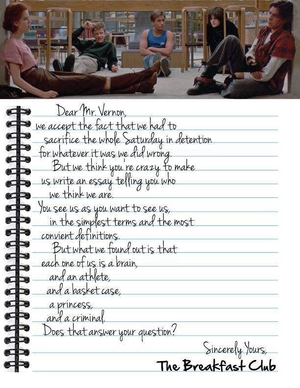 Dear Mr Vernon letter from the Breakfast Club Description from