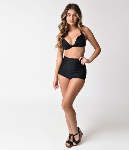 12f081da4e8fd Accentuate your curves and channel the classic look of your favorite vintage  Hollywood starlets with these black Monroe high-waisted bikini bottoms.
