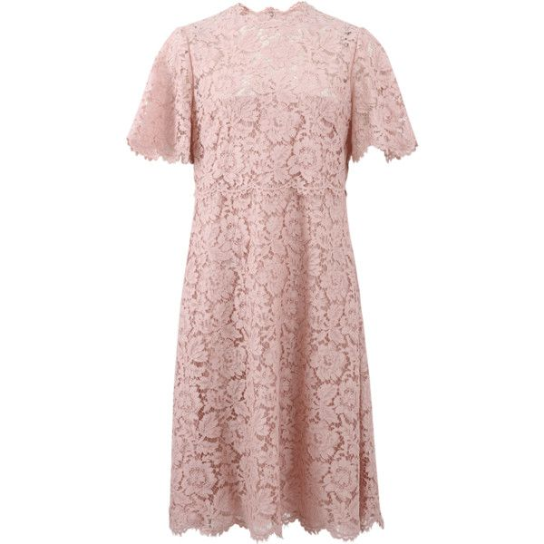 Valentino Lace Dress (183,985 THB) ❤ liked on Polyvore featuring dresses, lacy dress, short lace dress, scalloped dress, short dresses and lace lined dress