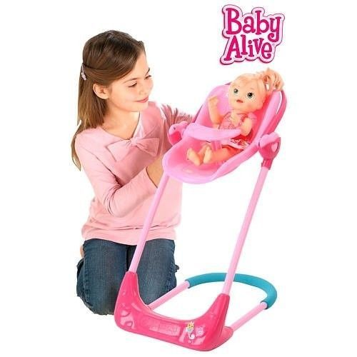 Baby Alive Swing High Chair And Car Seat Doll 3 In 1 Combo New