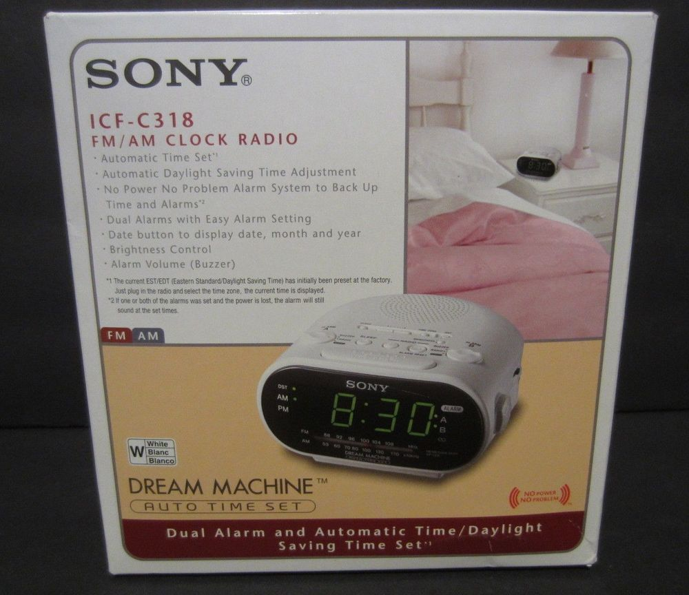 Sony ICF-C318 FM/AM Clock Radio Dream Machine White Discontinued NEW #Sony