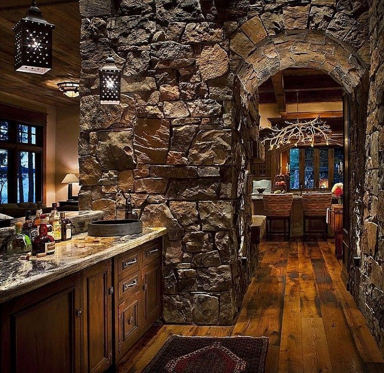 14 Spectacular Stone And Rock Kitchen Backsplashes That Wow Rustic Kitchen Kitchen Backsplash Living Room Green
