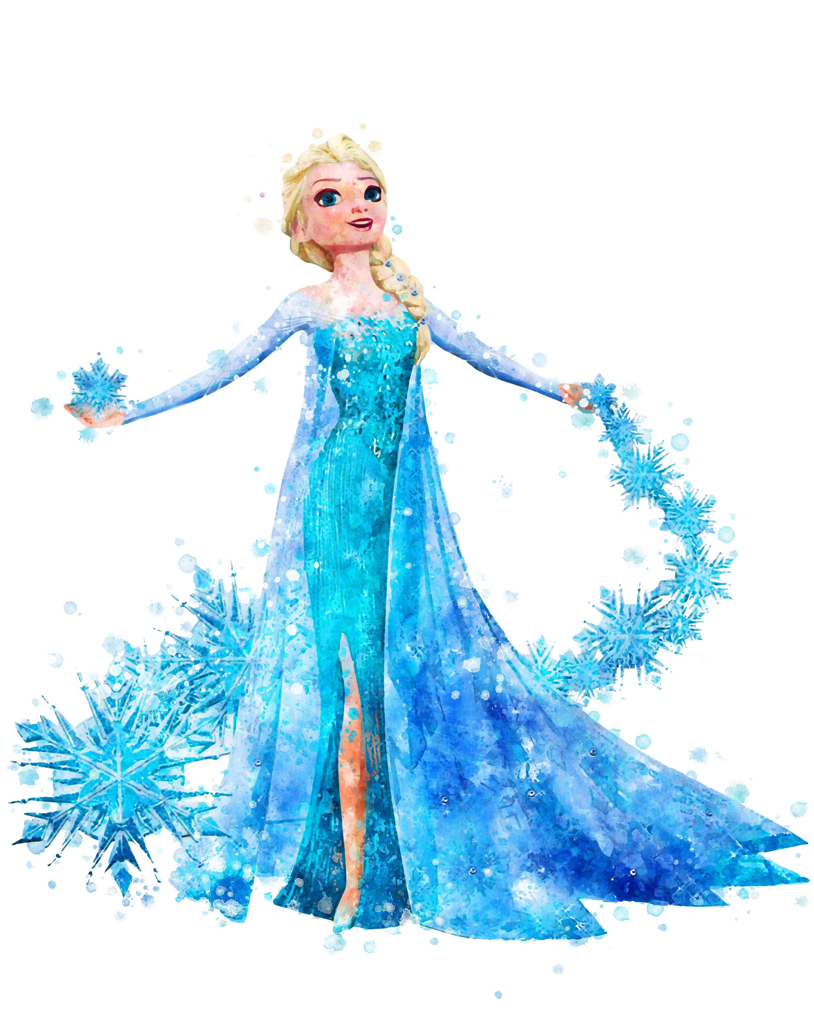 Princess Elsa Print Disney Frozen Watercolor Elsa Printable Etsy Frozen Painting Disney Frozen Frozen Art