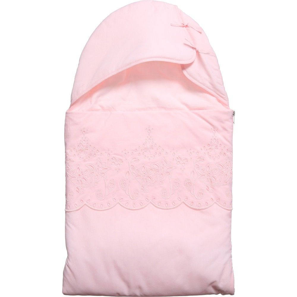 GUCCI Pink Broderie Anglaise Trim Baby Nest (90cm)