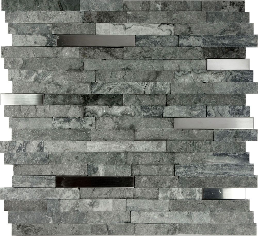 1sf Gray Natural Stone Stainless Steel Insert Mosaic Tile Kitchen Backsplash Unbranded