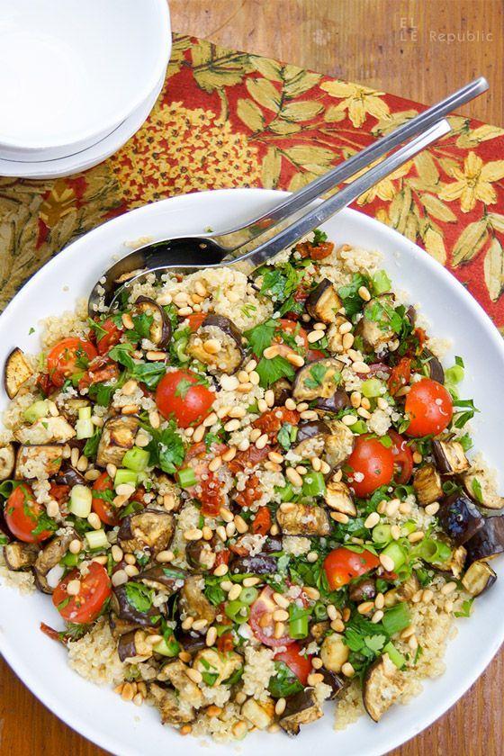 Quinoa mit gebackenen Auberginen und Cherry-Tomaten Rezept