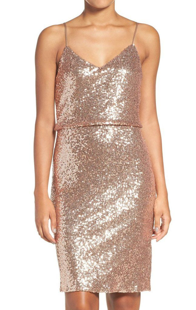 25da4bf6d5 MACloth Spaghetti Straps Sequin Cocktail Dress Rose Gold Short Formal Gown