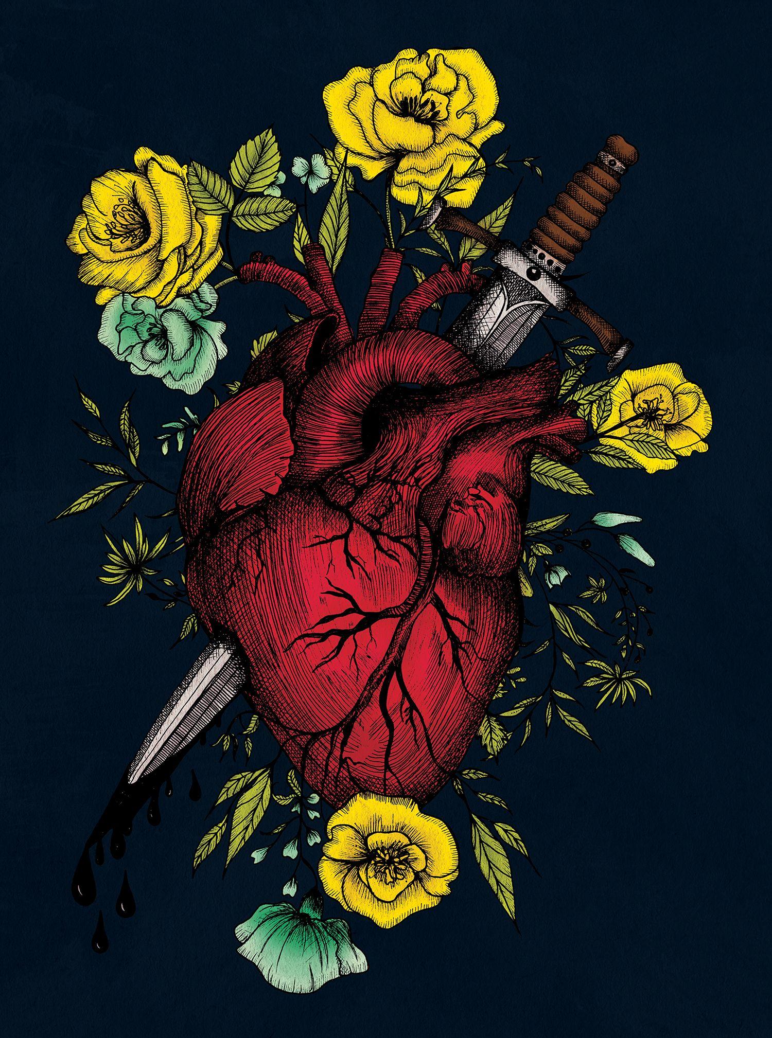 Bleeding Anatomical Heart Art Print Heart And Dagger Etsy Heart Art Print Anatomical Heart Art Heart Art