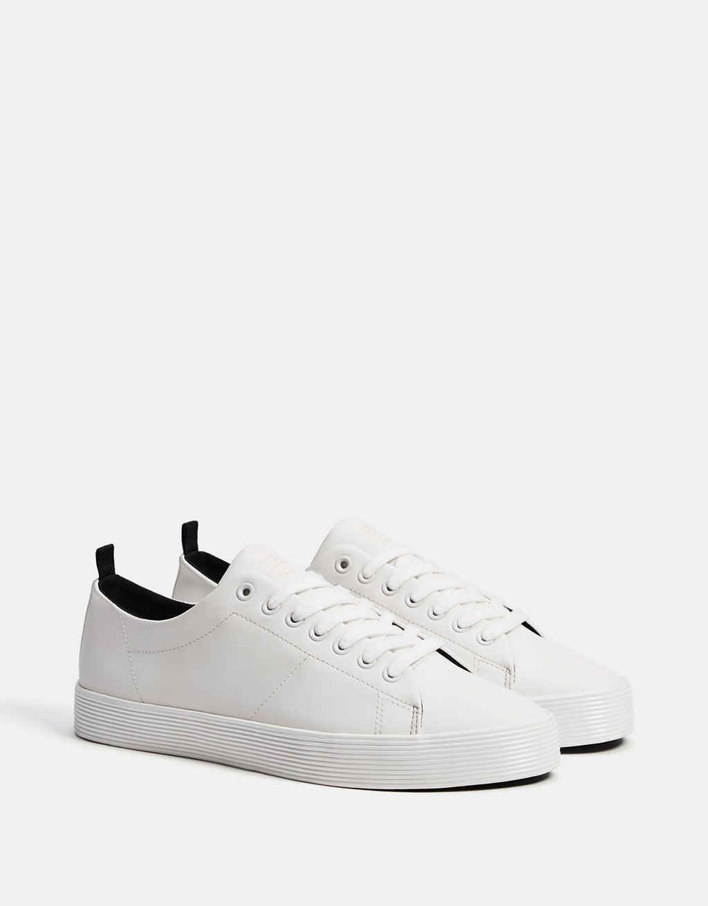 Men s monochrome sneakers with textured soles - SHOES - Bershka United  States 575eefd3d909