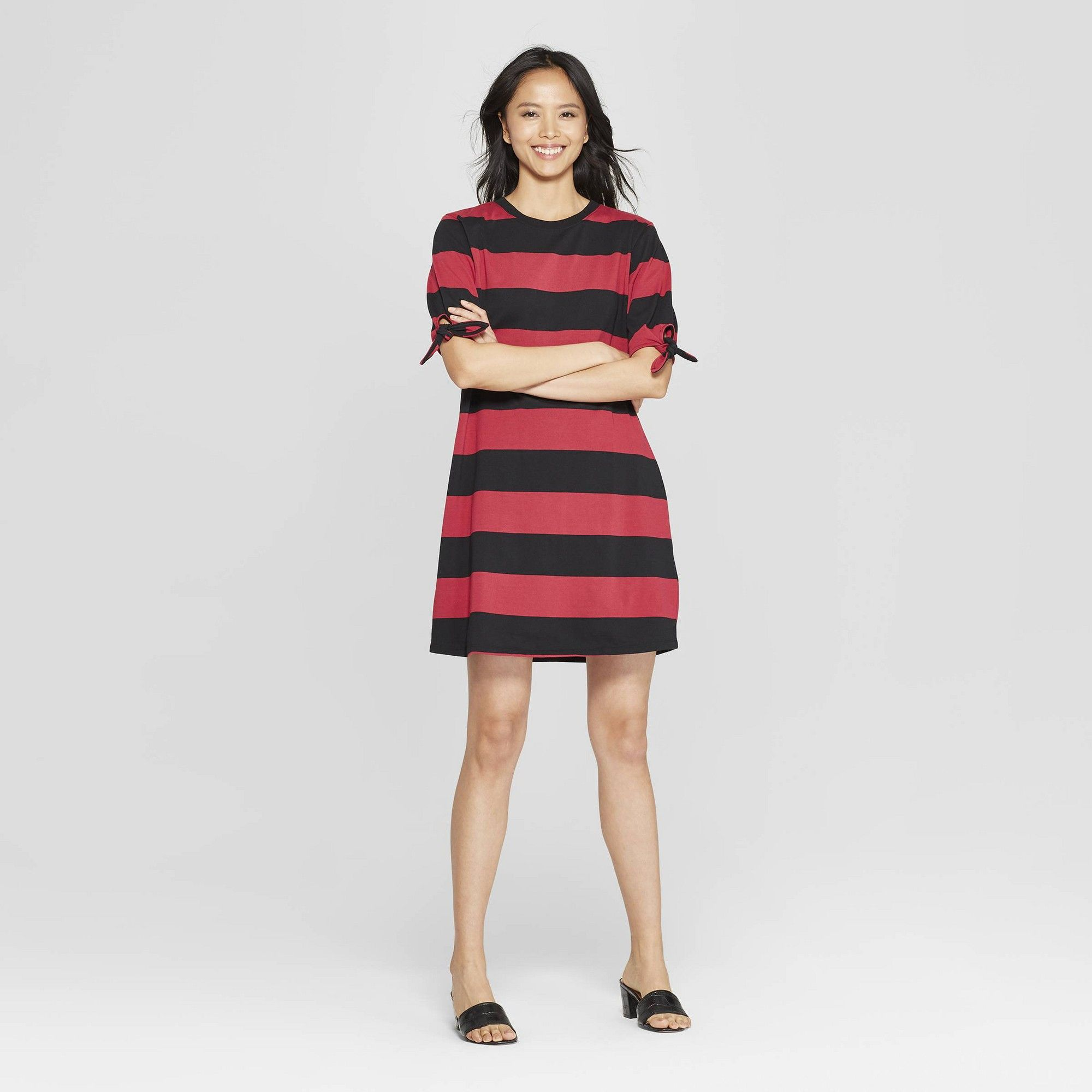 9046559d324 Women s Striped Short Knotted Sleeve T-Shirt Dress - Who What Wear Red Black