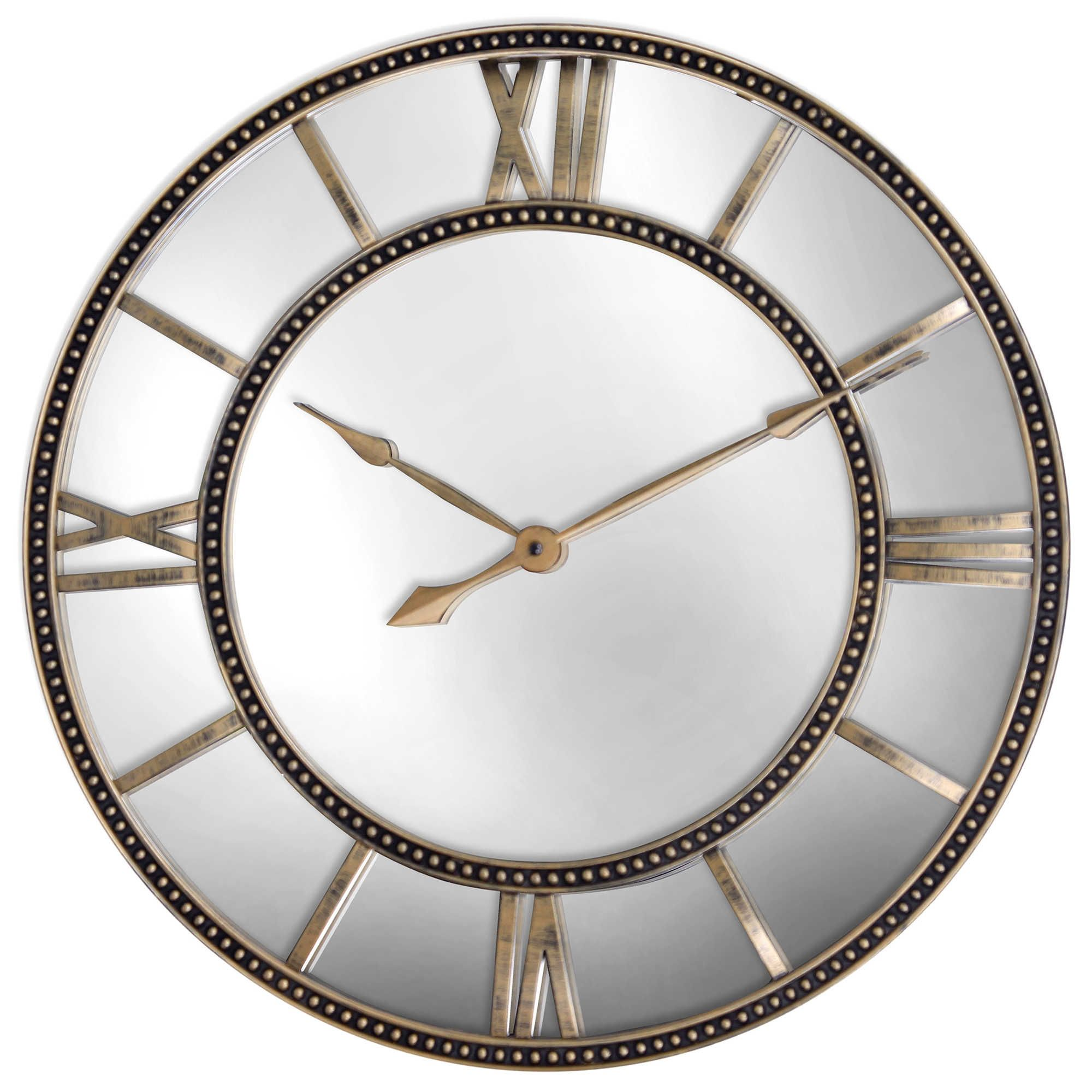 Mirrored Wall Clock In Antiqued Gold Mirror Wall Clock Gold Mirror Wall Large Mirrored Wall Clock