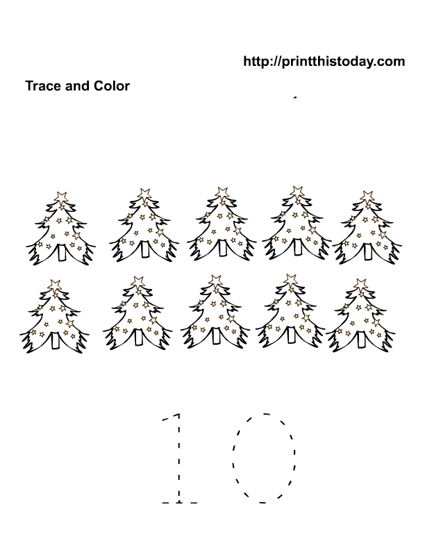 10 Christmas trees tracer sheet | Free Printable Worksheets ...
