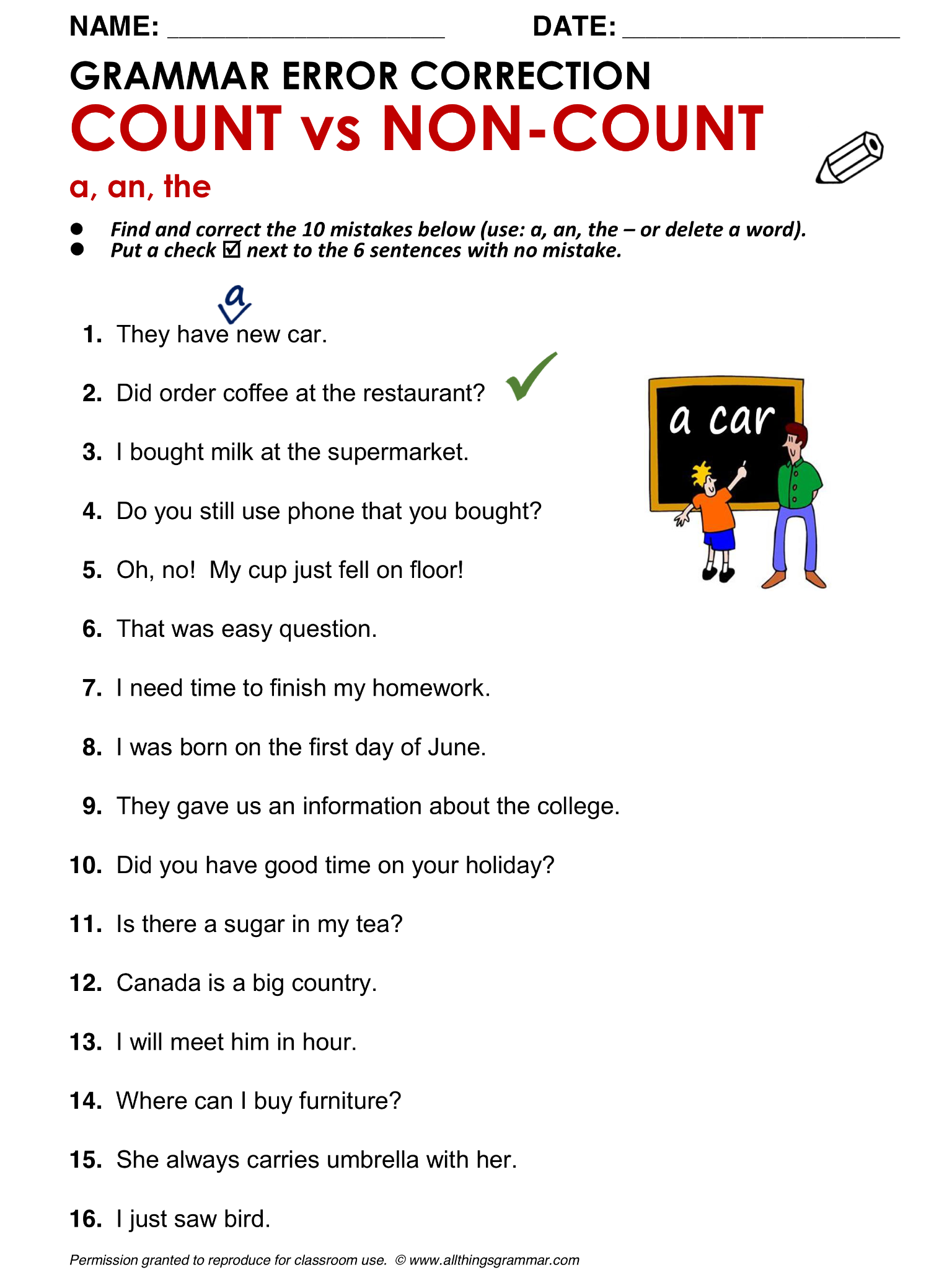Worksheet On Count And Mass Nouns