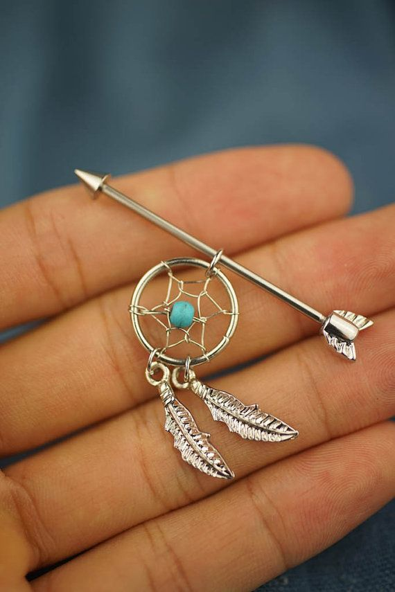 Industrial Piercing Dream Catcher Industrial barbell industrial piercing 41g dream catcher turquoise 18
