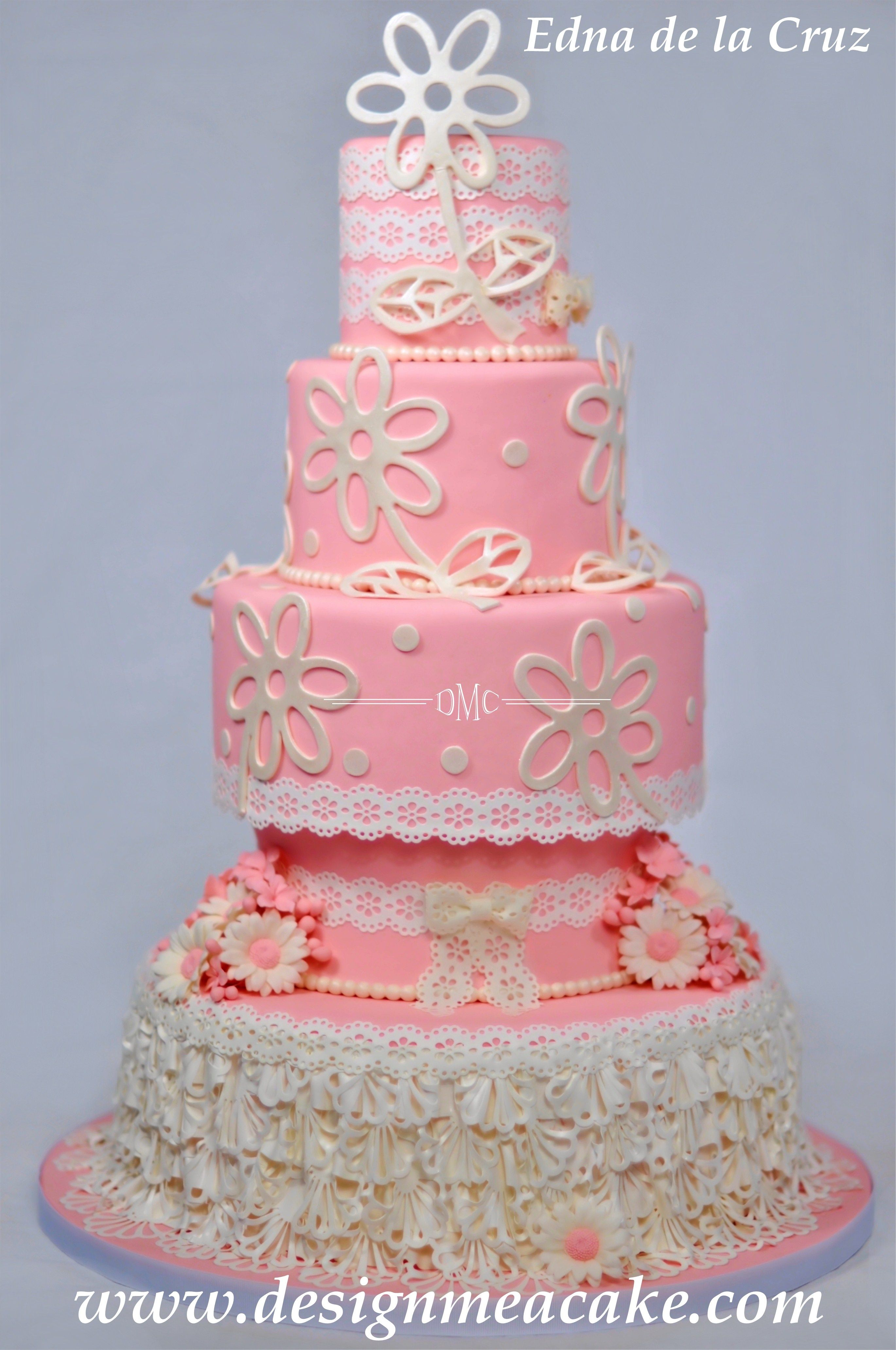 Pretty in Pink - Fondant Cake with details in gumpase and sugar veil ...